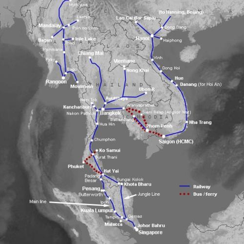 Železniční síť JV Asie